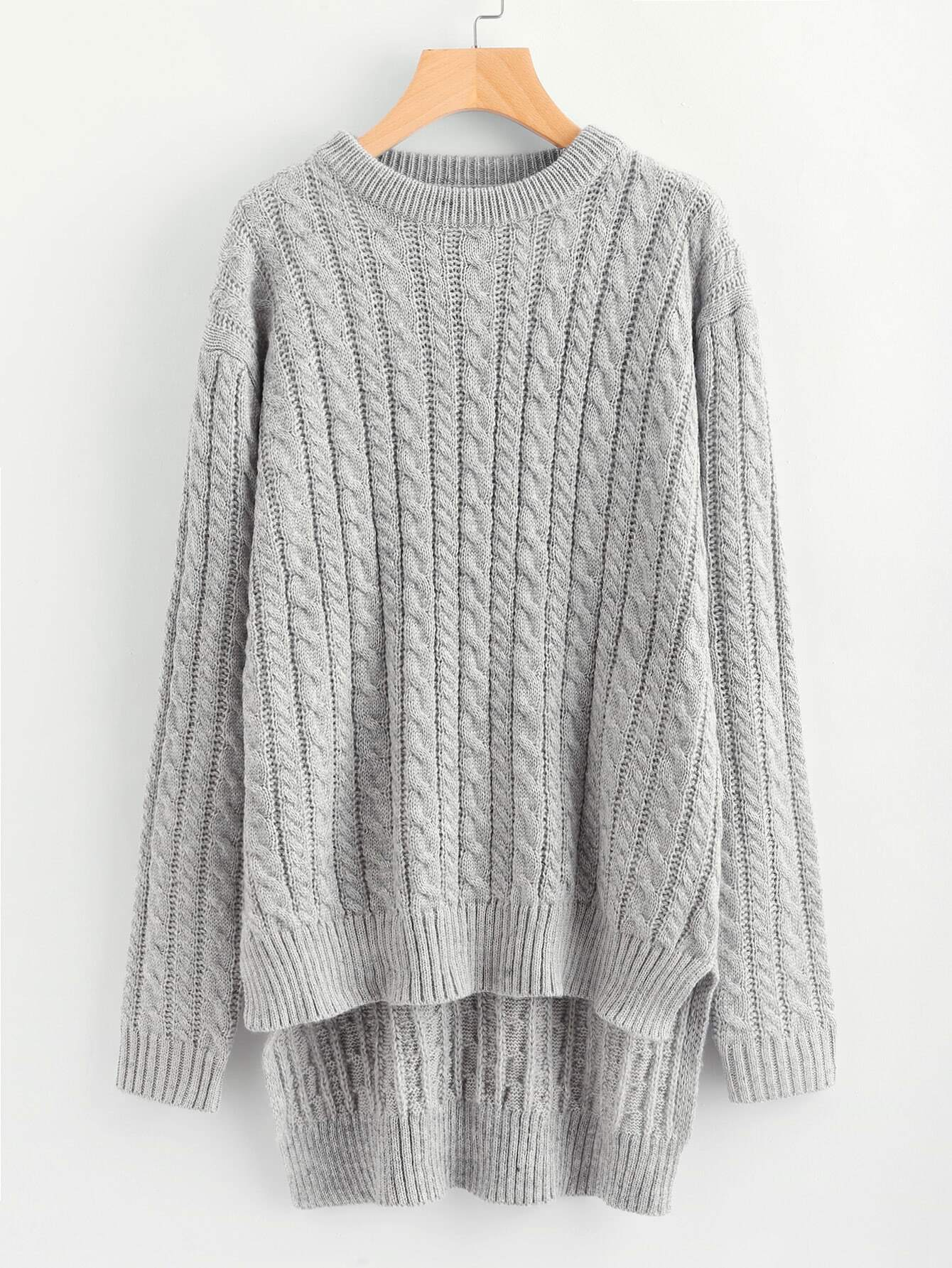 Cable Knit High Low Longline Jumper pearls beaded cable knit jumper