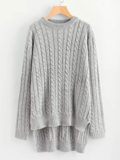 Cable Knit High Low Longline Jumper
