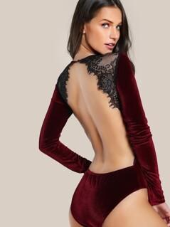 Backless Lace Applique Bodysuit