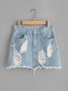 Light Wash Distressed Denim Skirt
