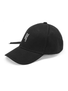 Slogan Embroidery Baseball Cap With Long Strap