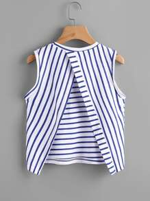Overlap Back Striped Tank Top