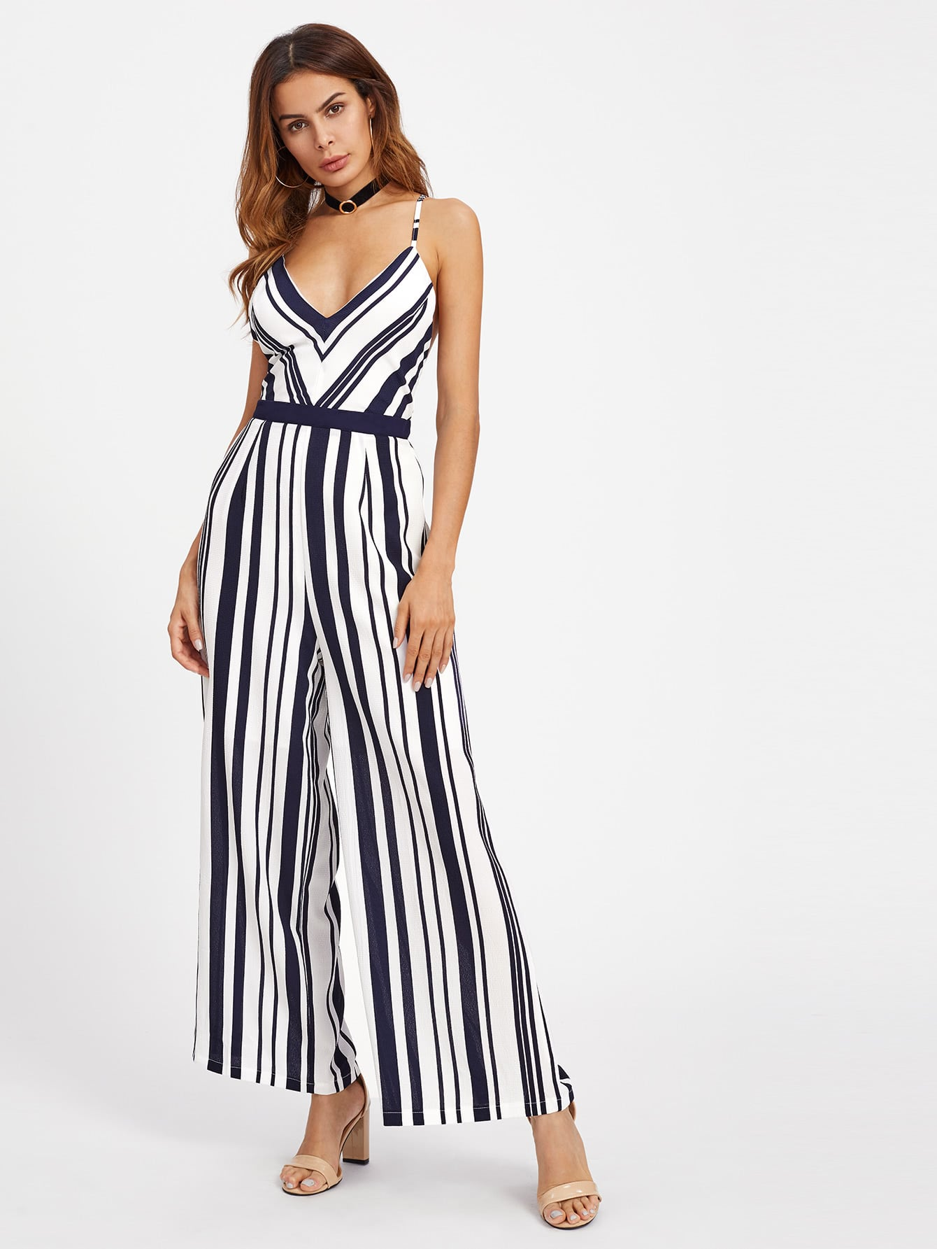 Image of Backless Crisscross Tie Detail Striped Jumpsuit
