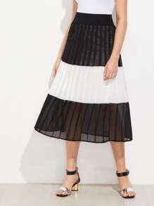 Contrast Panel Pleated Chiffon Skirt