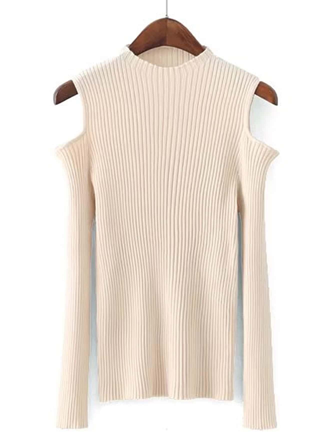 Open Shoulder Ribbed Knitwear
