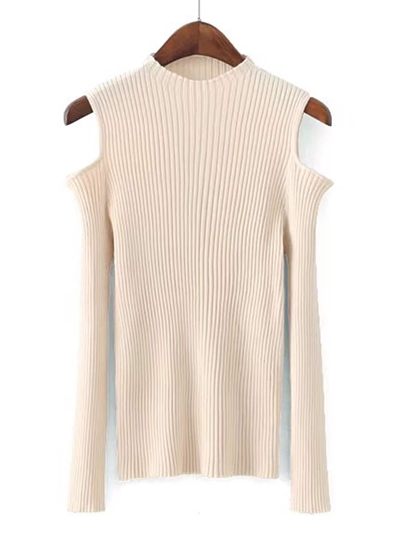Open Shoulder Ribbed Knitwear sweater170724204