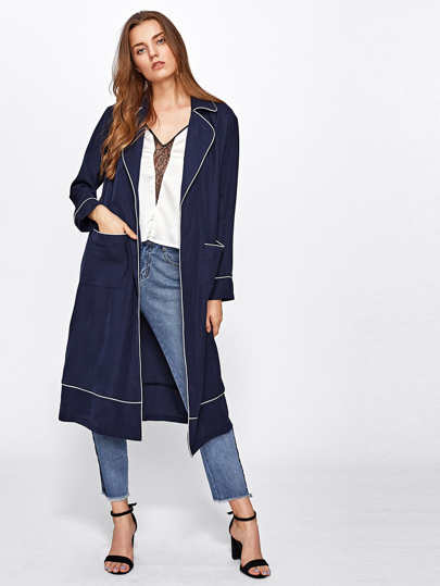 Contrast Tipping Detail Wrap Coat