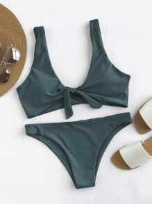 Ensemble de bikini dos en forme de cuillère avec nœud papillon