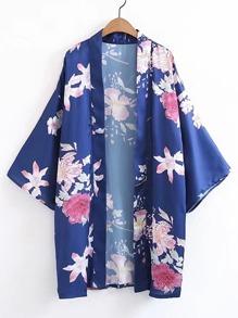 Open Front Floral Print Kimono