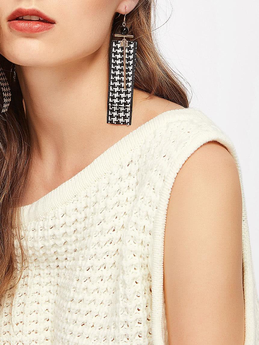Фото Grid Ribbon & Bar Design Drop Earrings. Купить с доставкой
