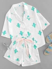 Cactus Print Tie Waist Pajama Set