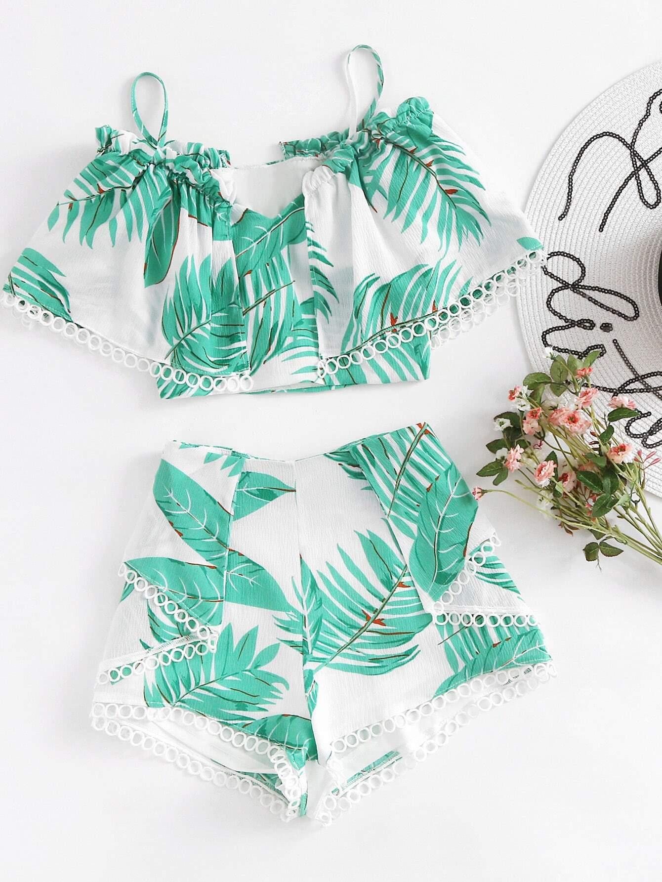 Circle Lace Trim Layered Tropical Top And Shorts Set