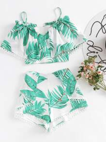 Circle Lace Trim Layered Tropical Top And Shorts Set