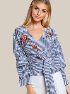 Self Tie Floral Embroidered Wrap Top BLUE