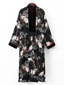 Contrast Cranes Print Split Side Longline Kimono