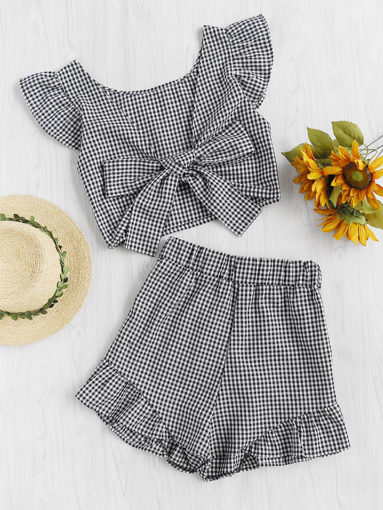 Gingham Frill Trim Bow Tie Back Top With Shorts велосипед stels navigator 380 lady 2013