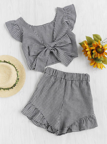 Gingham Frill Trim Bow Tie Back Top With Shorts