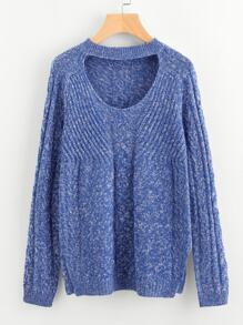 Marled Mixed Knit Cutout Neck Jumper