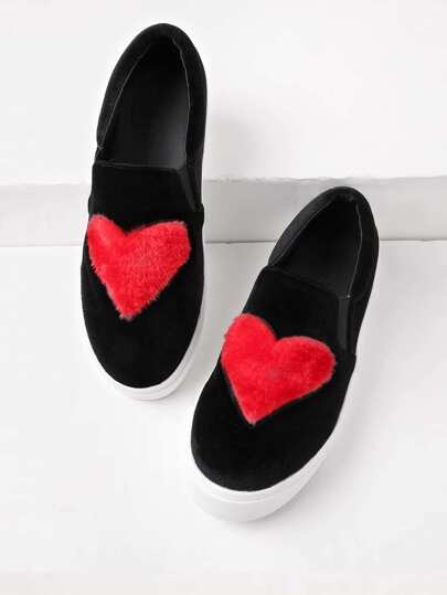 Heart Pattern Velvet Sneakers