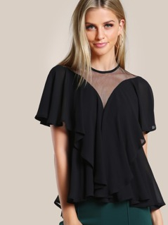 Mesh Cut Out Flounce Top