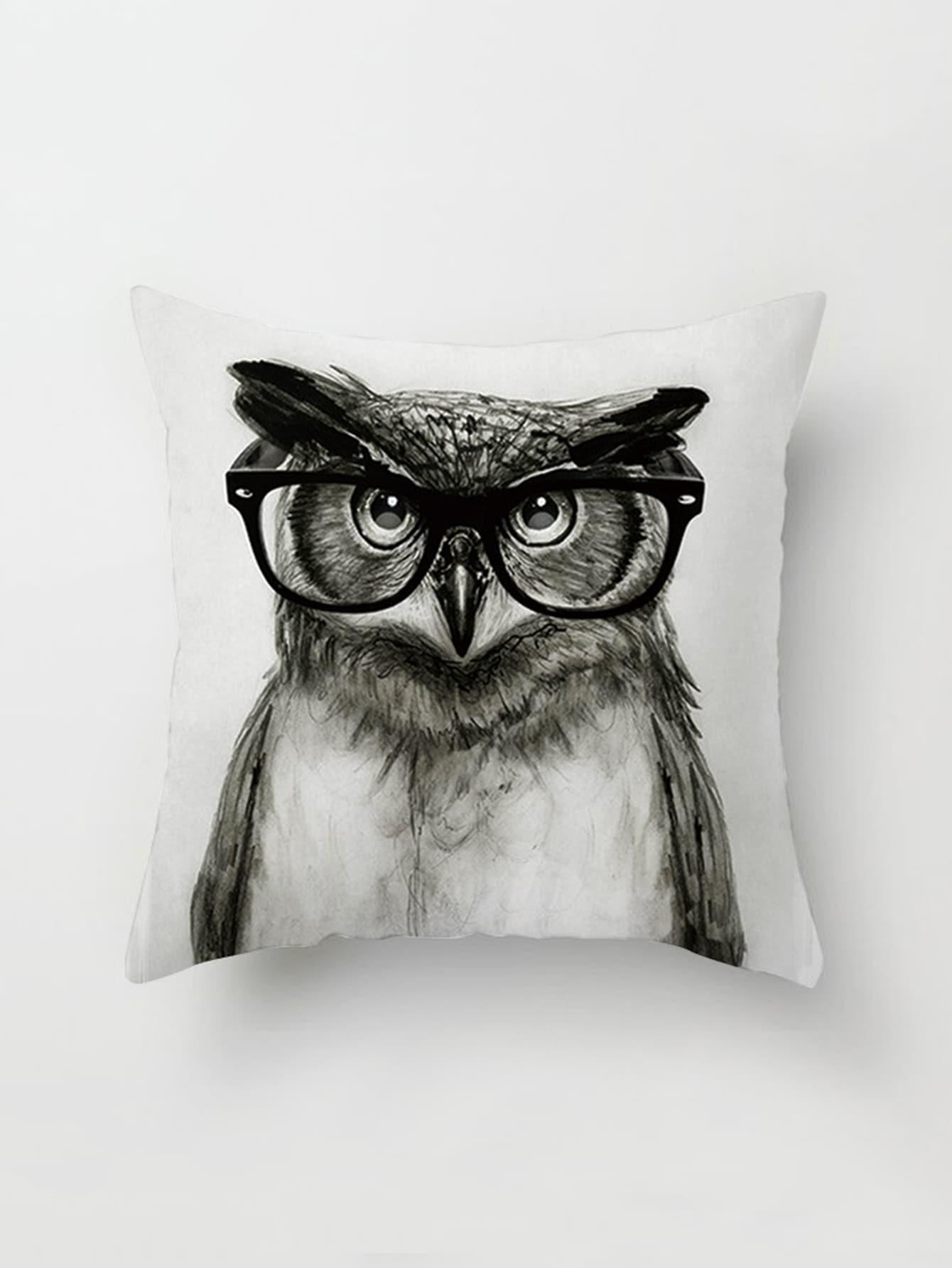 Фото Owl With Glasses Print Pillowcase Cover. Купить с доставкой