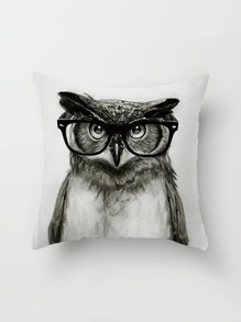 Owl With Glasses Print Pillowcase Cover