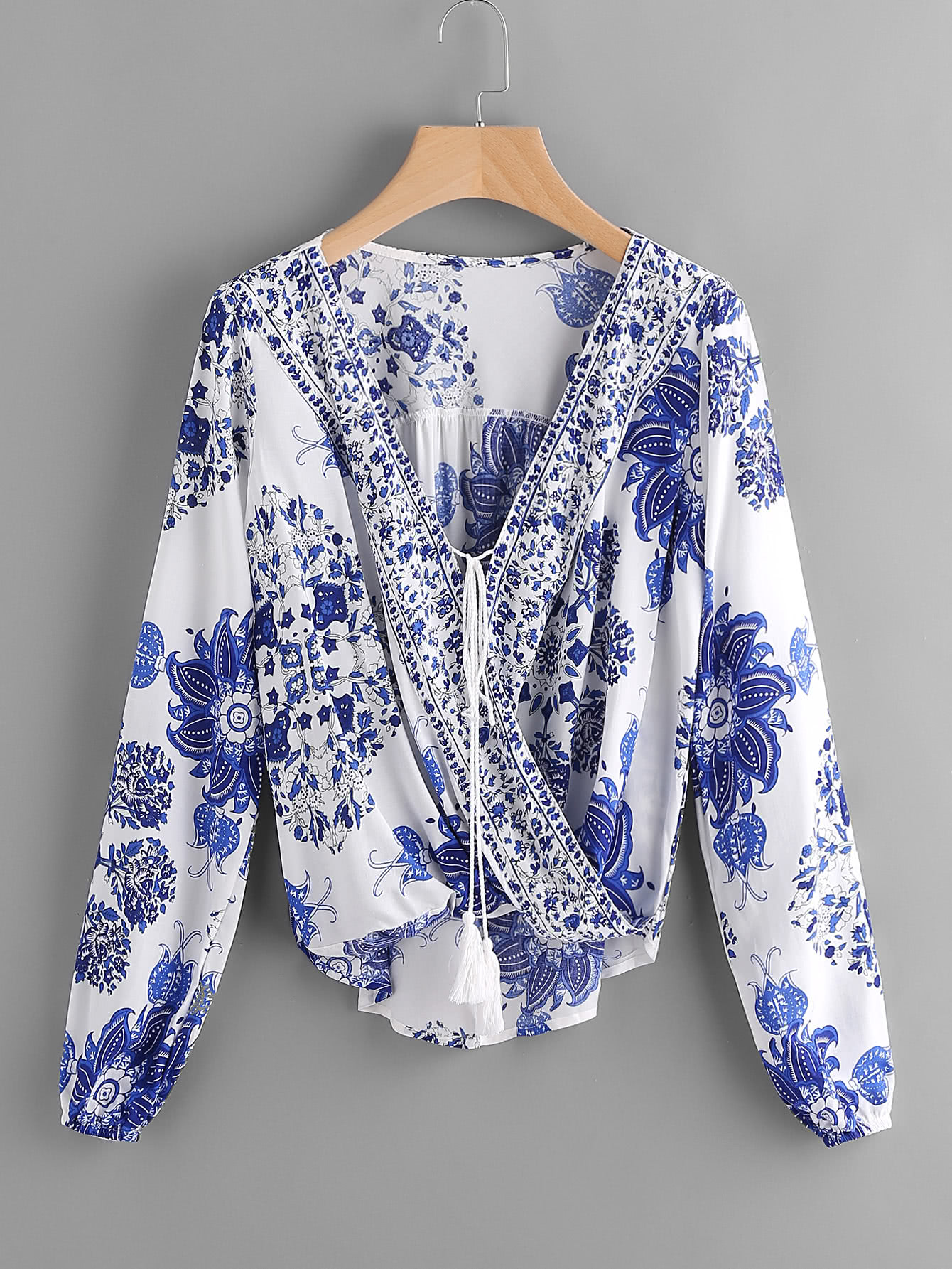 Surplice Neckline Tassel Tie Printed Blouse crisscross surplice neckline tie detail tropical print blouse