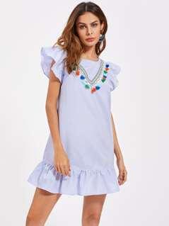 Tassel Trim Flutter Sleeve Frilled Hem Dress