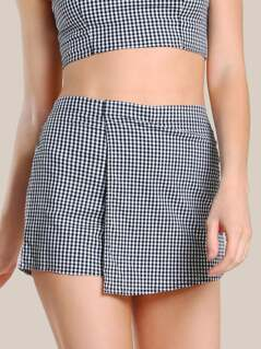 Gingham Print Skort BLACK WHITE