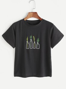 Plant Embroidery T-shirt