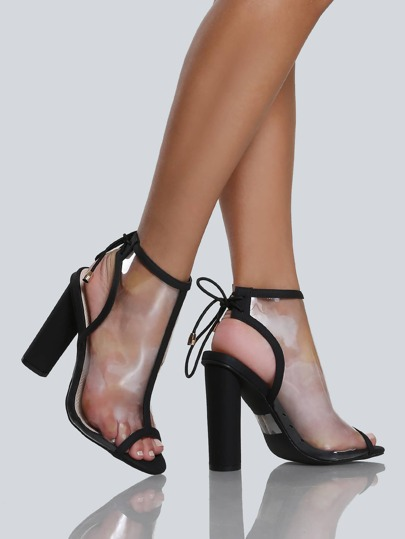 Clear Cut Out Bootie Heels BLACK