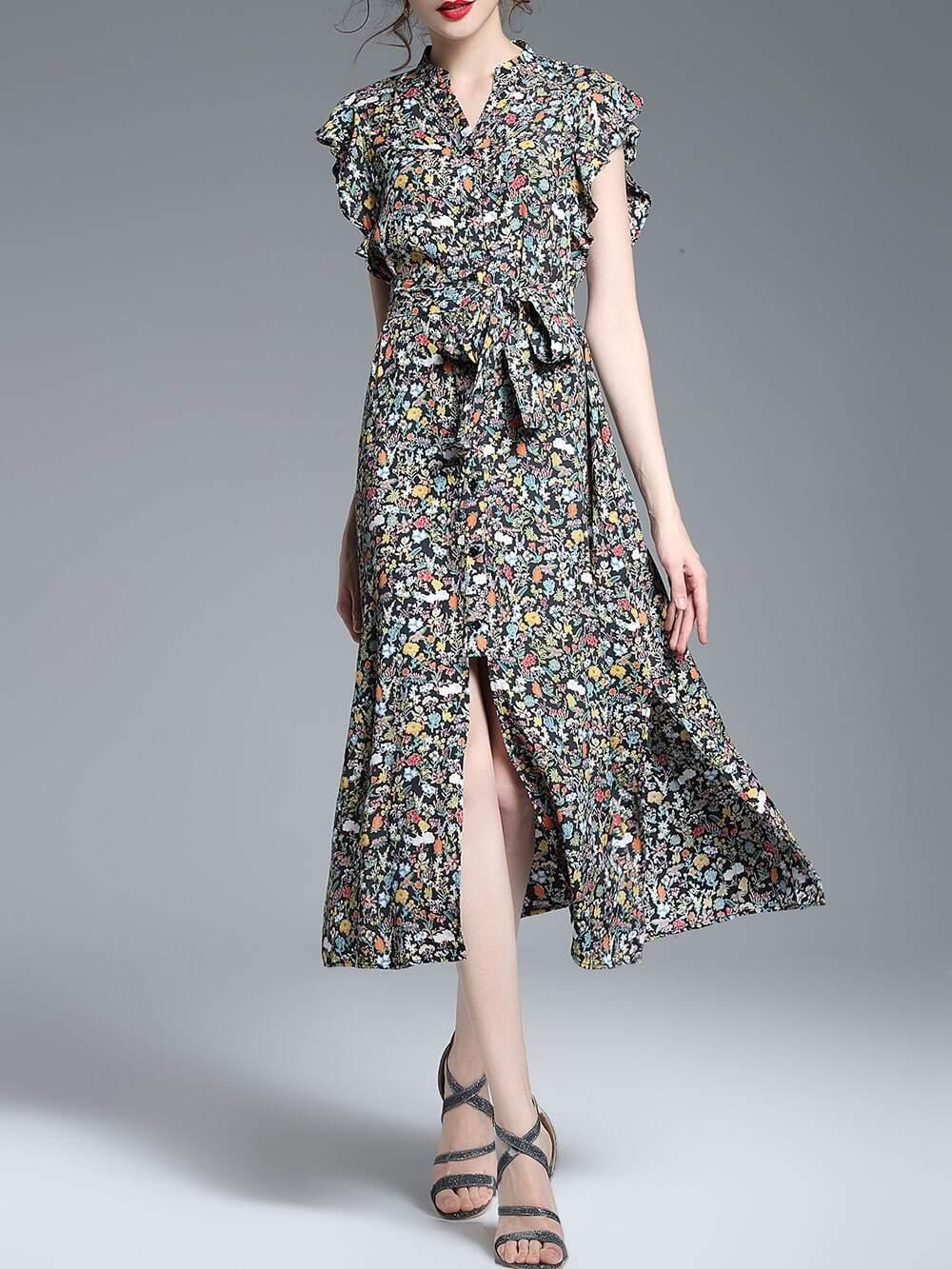 Фото V Neck Ruffle Sleeve Floral Dress. Купить с доставкой