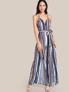 Open Back Split Front Striped Jumpsuit
