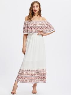 Paisley Print Flounce Cold Shoulder Dress