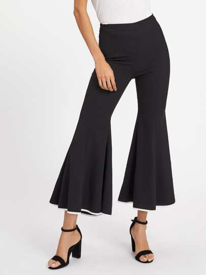 Contrast Binding Super Flare Pants