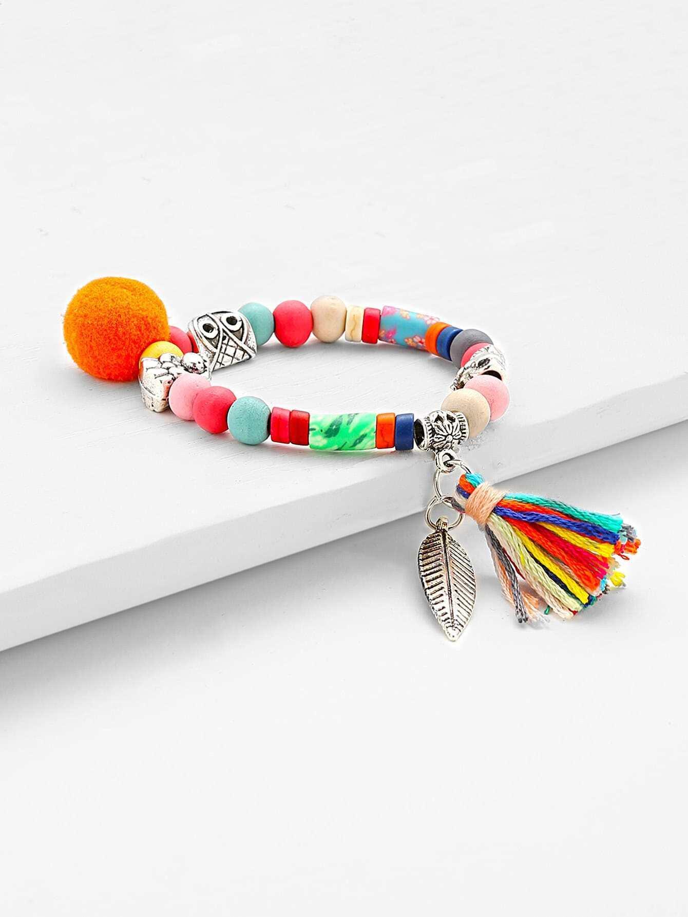 Фото Tassel & Leaf Detail Beaded Bracelet. Купить с доставкой
