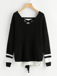Contrast Striped Lace Up Back Jumper