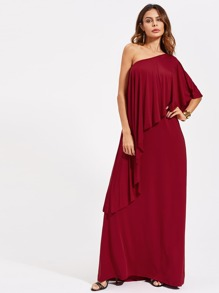 Flounce Layered Oblique Shoulder Full Length Dress