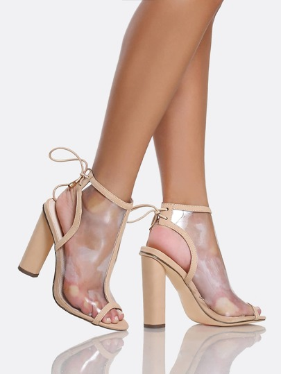 Cut Out Bootie Heels NUDE