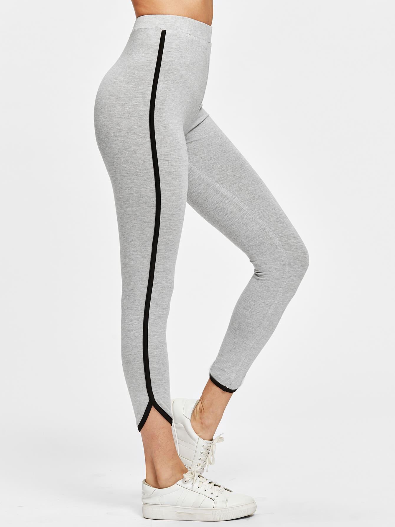 Contrast Binding Curved Hem Heather Knit Leggings contrast ruffle trim heather knit sweatshirt