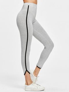 Contrast Binding Curved Hem Heather Knit Leggings