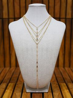 Quadruple Chain Lariat Necklace GOLD