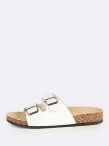 Double Buckle Leather Slides WHITE