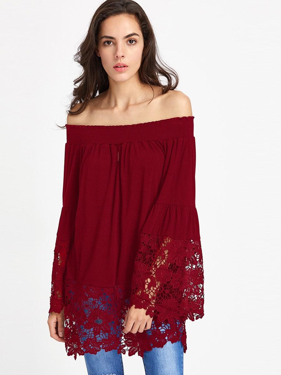 Фото Shirred Bardot Fluted Sleeve Crochet Panel Top. Купить с доставкой