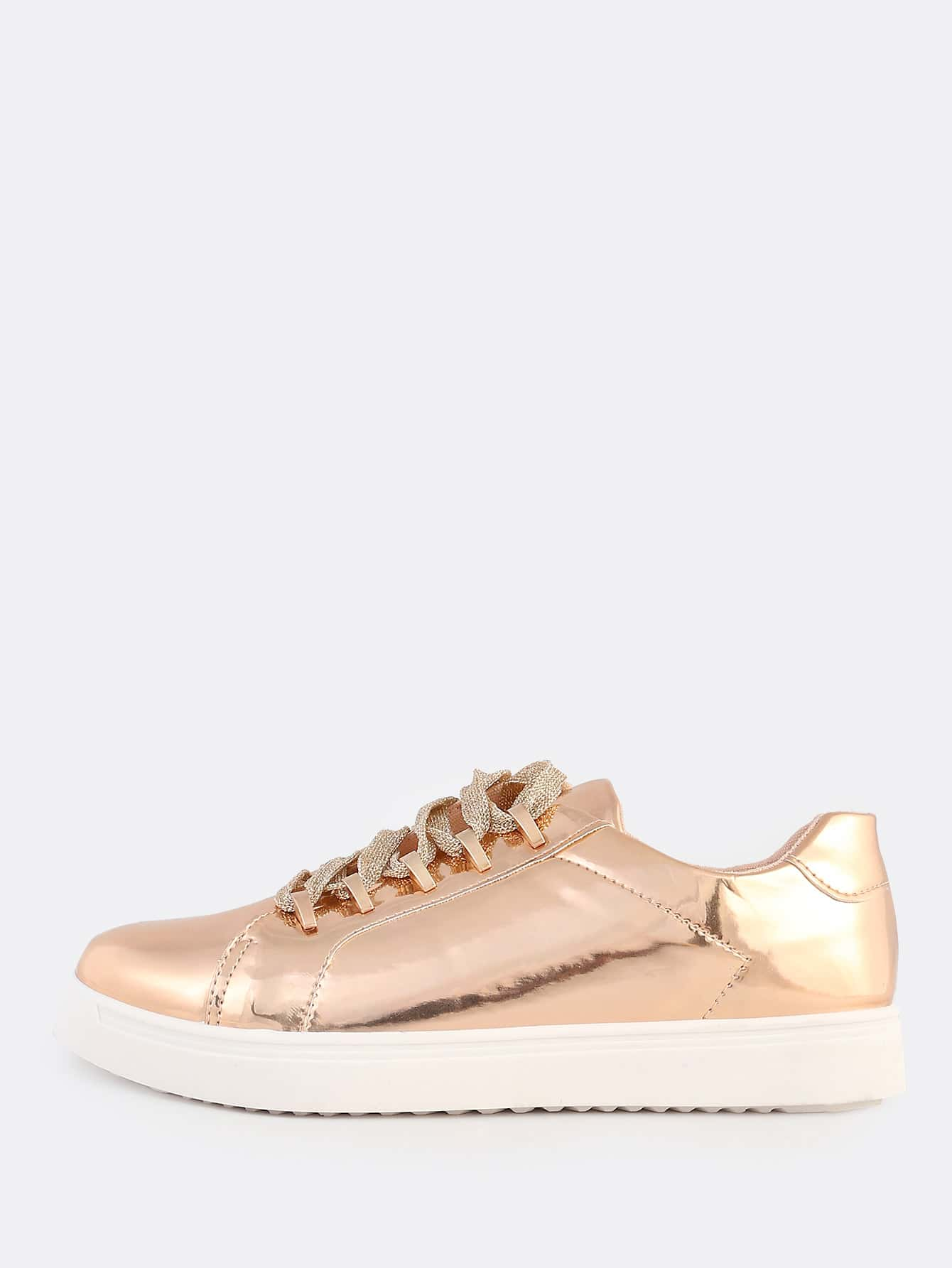 patent lace up metallic sneakers rose gold shein sheinside. Black Bedroom Furniture Sets. Home Design Ideas