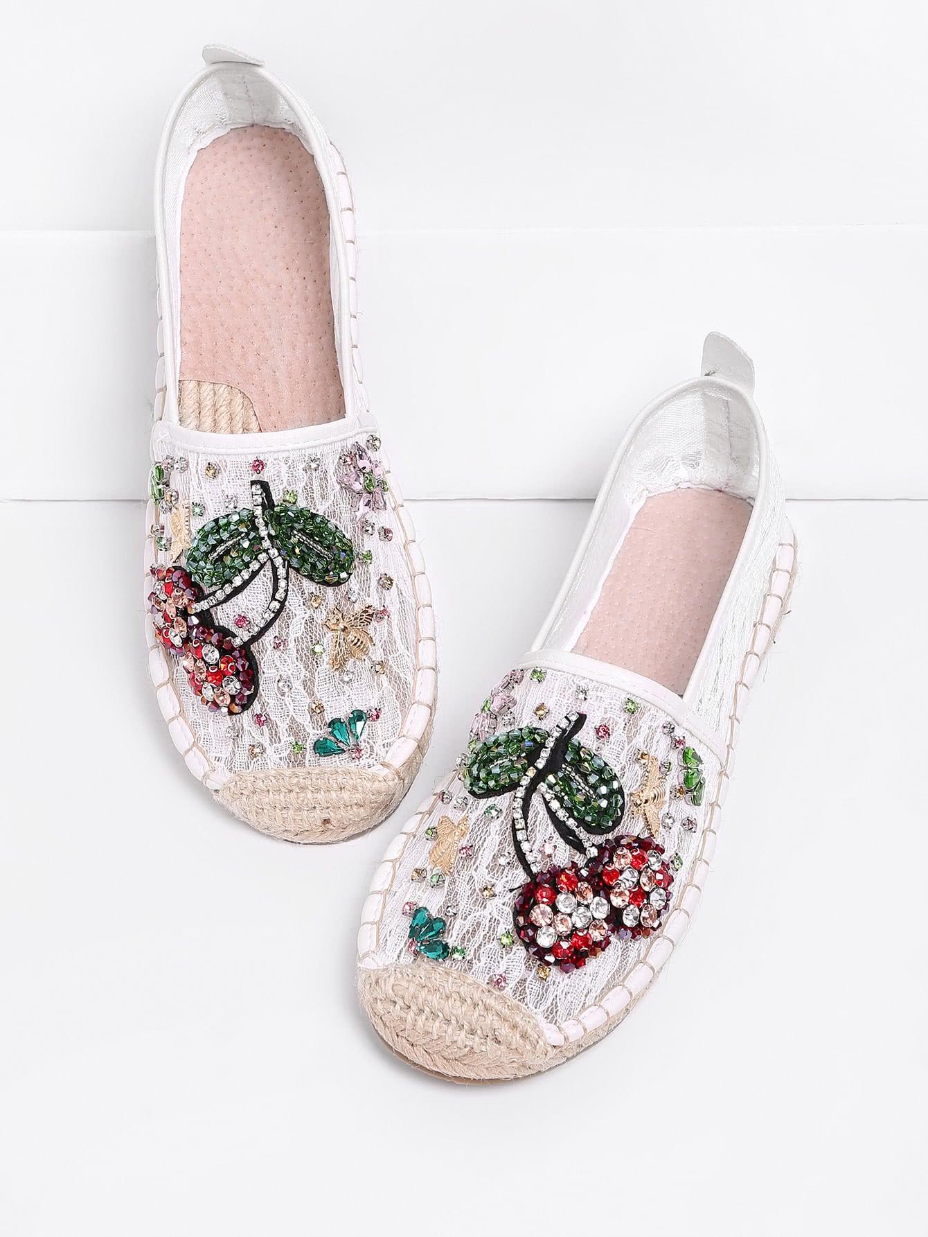 Фото Rhinestone Decorated Flower Pattern Lace Flats. Купить с доставкой
