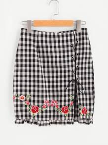 Frilled Hem Embroidered Lace Up Slit Gingham Skirt