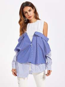 Contrast 2 In 1 Convertible Blouse
