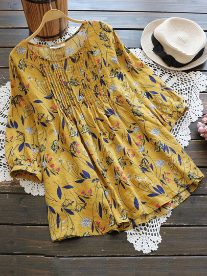 Ditsy Print Random Pleated Long Top