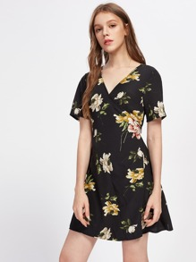 Random Florals Overlap Dress